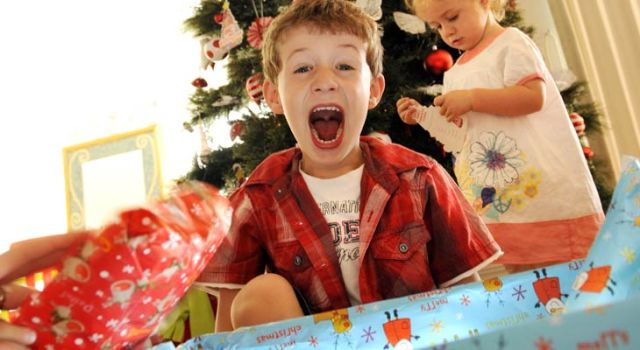 boy with christmas gift